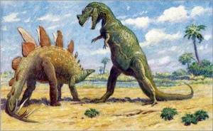 Стегозавр защищается от - Цератозавра