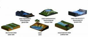 Типы озёр