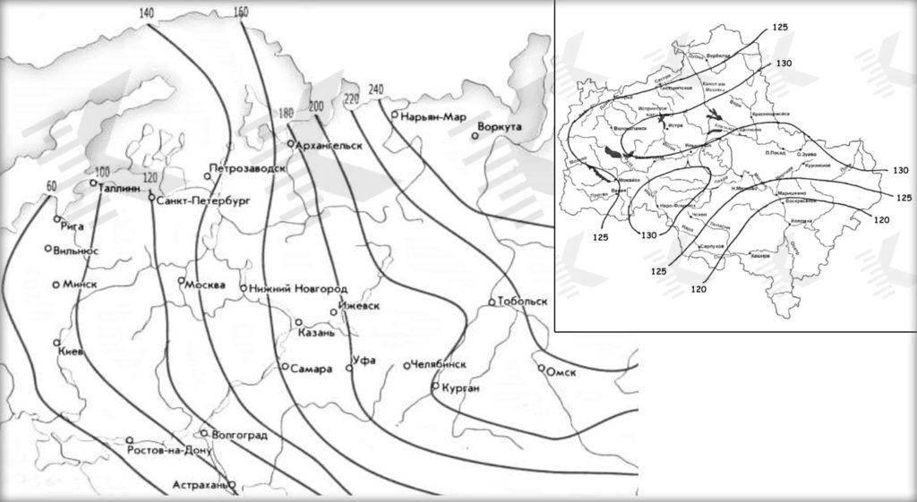 Карта промерзания почвы Центральной России и Московской области