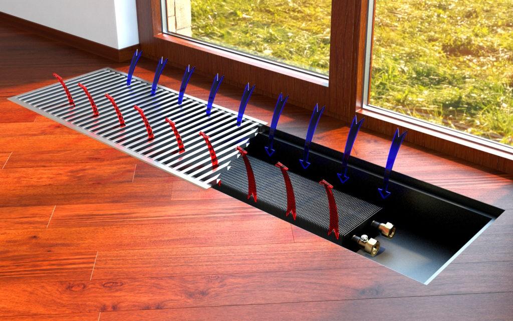 Если в помещении панорамные окна, альтернативным решением является внутрипольная батарея