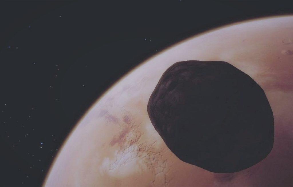 Фобос на фоне Марса