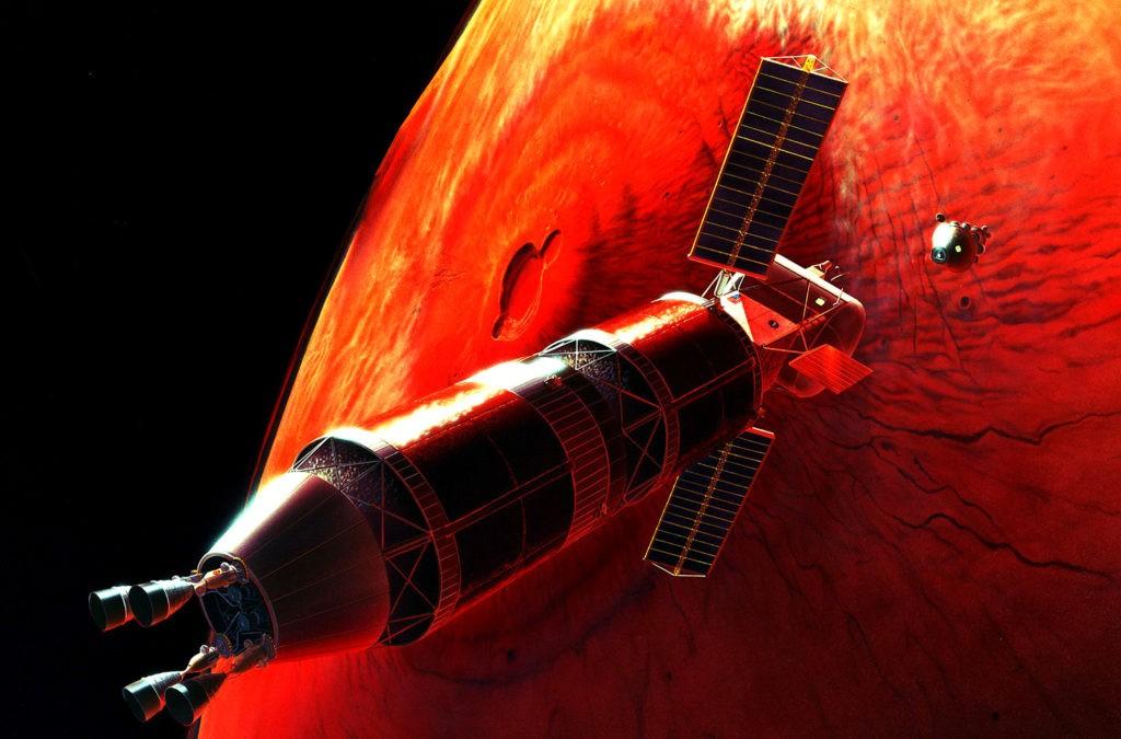 Одна из концепций высадки на Марс, планировавшейся НАСА (стыковка на орбите)