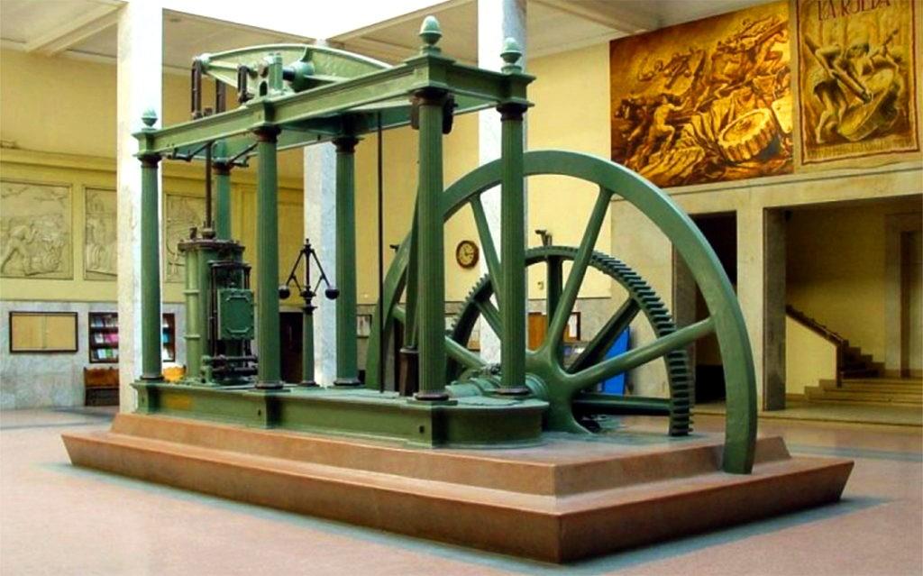 Промышленную революцию связывают с изобретением парового двигателя. На фото - паровая машина Джеймса Уатта, 1778 г.