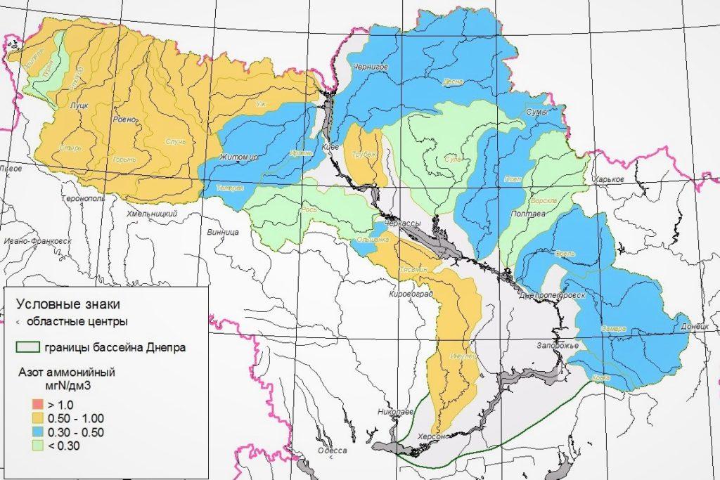 Река Днепр на карте