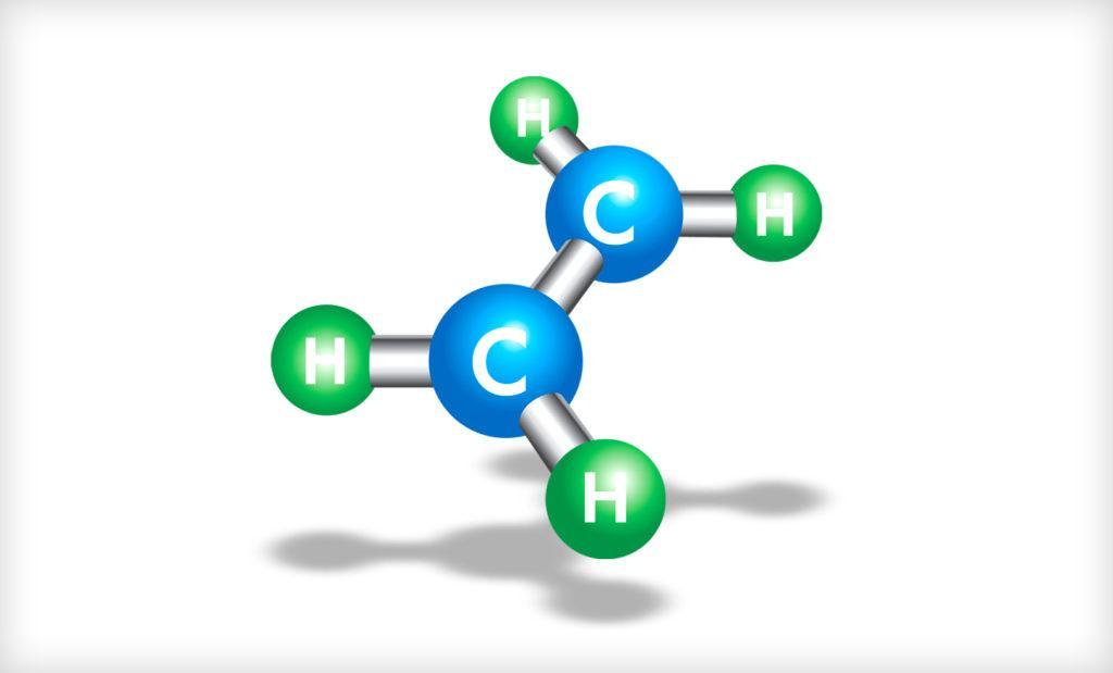 Молекула этилена, путем полимеризации которой получают полиэтилен
