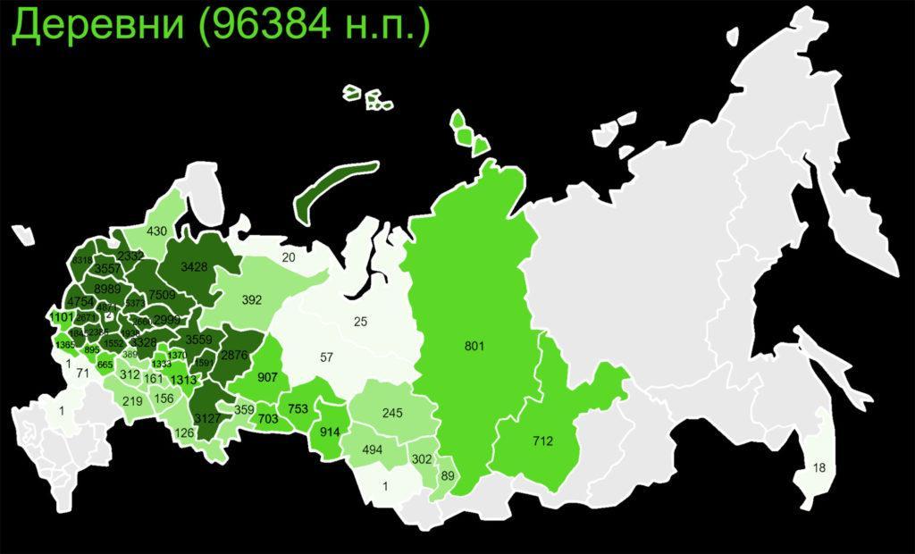 Примерное количество деревень по субъектам РФ
