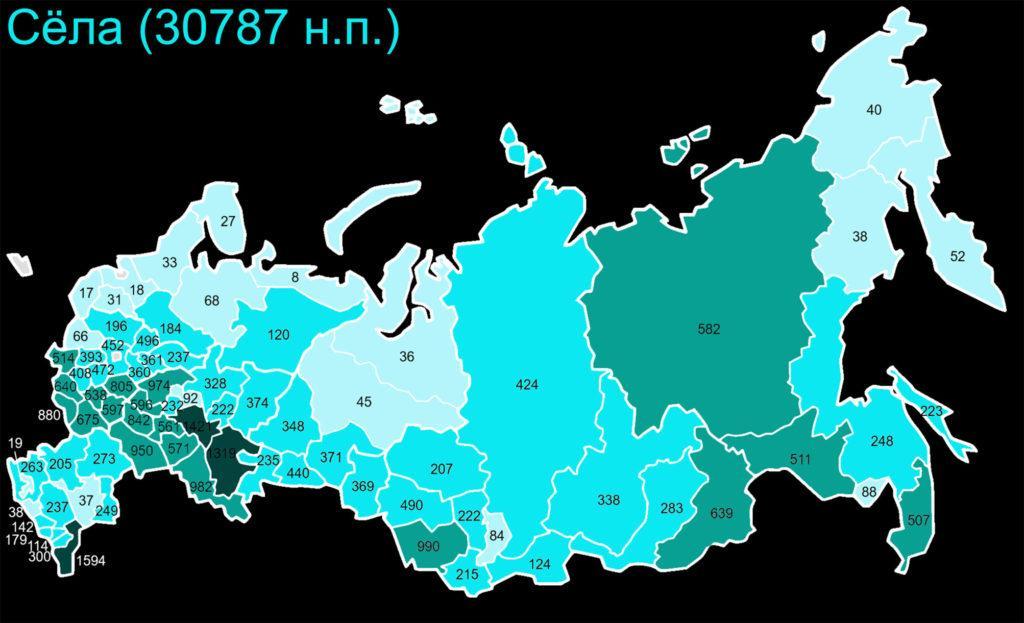 Примерное количество сел по субъектам РФ