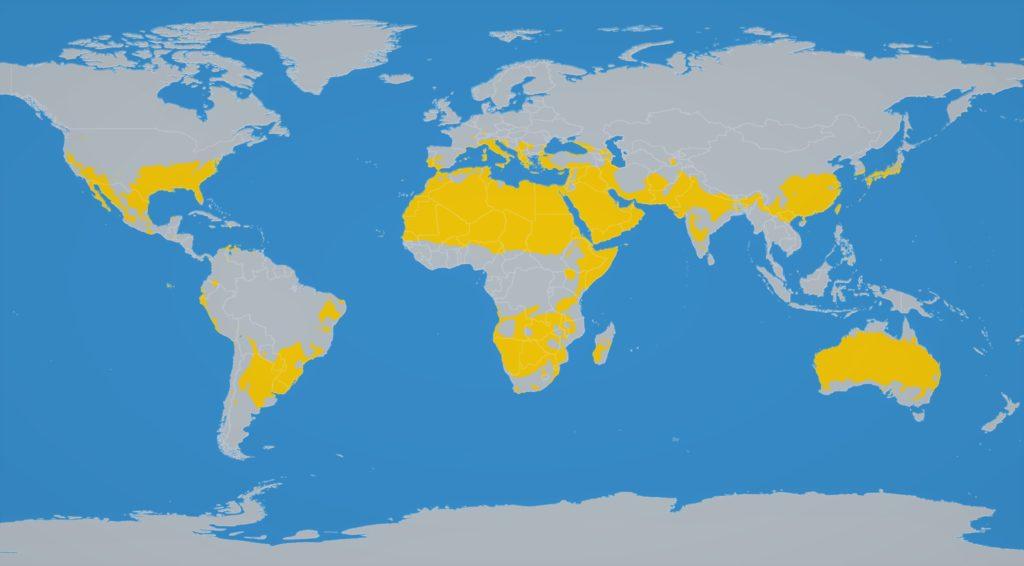 Карта расположения пустынь на Земле