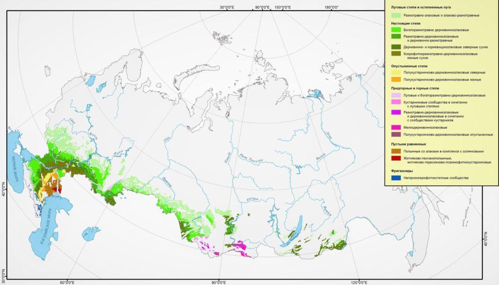 Карта степей России (нажать для увеличения)