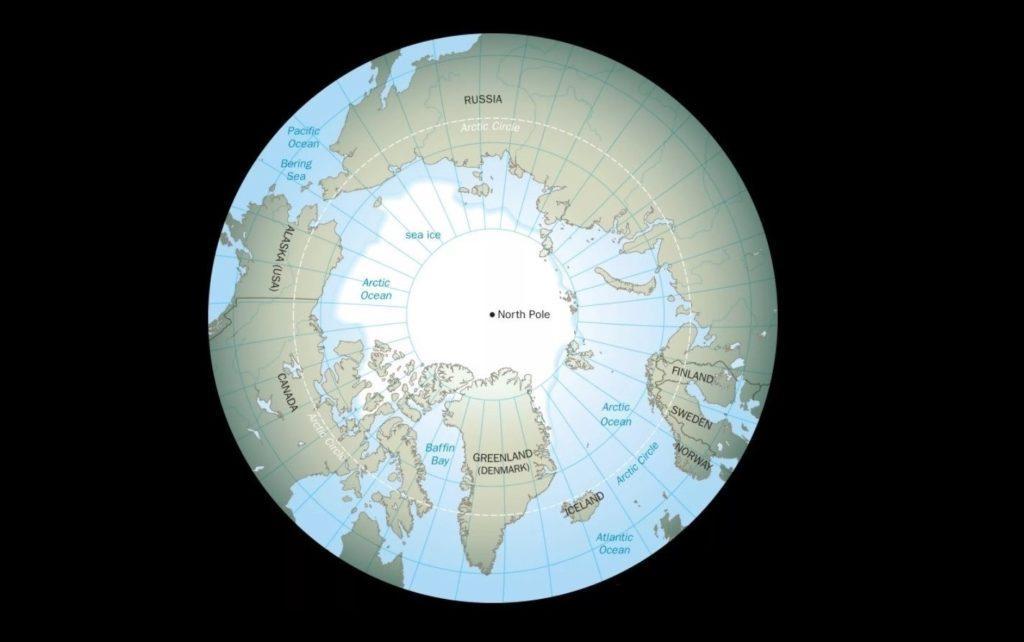 Карта расположения Северного полюса