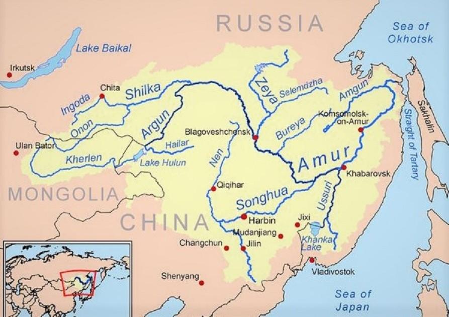 Амур на карте