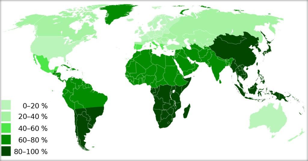 Процент людей, не усваивающих лактозу