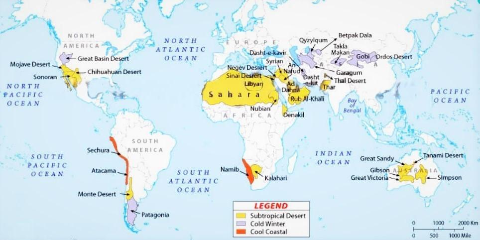 Карта расположения пустынь в мире