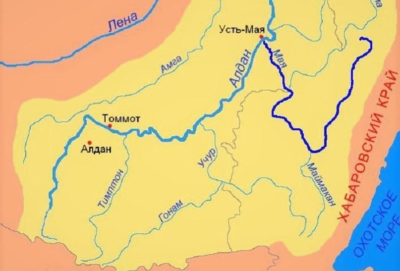 Река Мая на карте