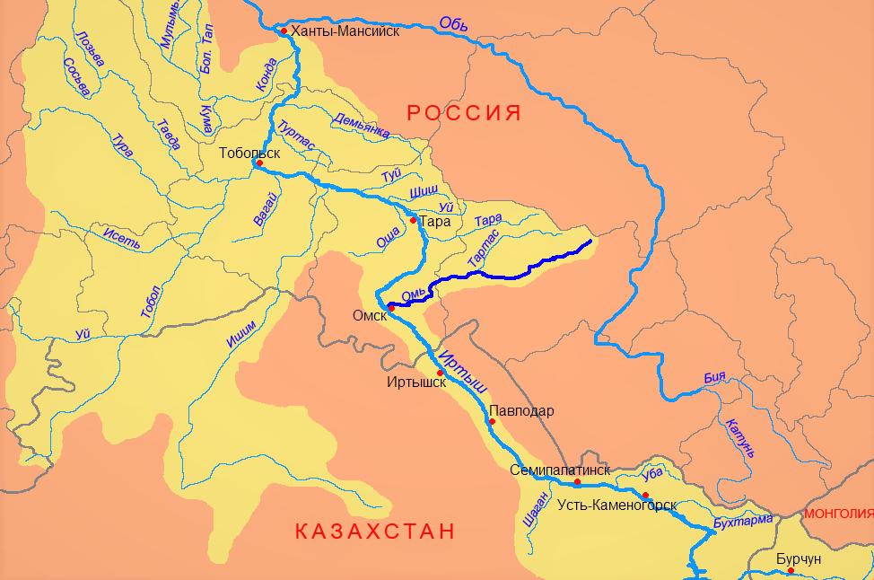 Река Омь на карте