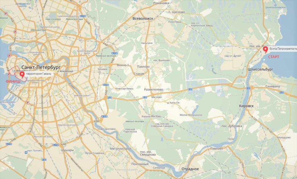 Река Нева на карте