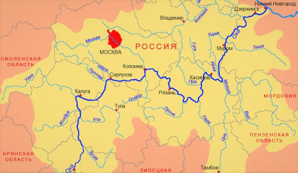 Река Ока на карте