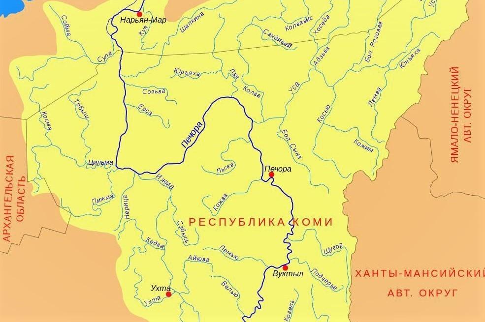 Река Печора на карте