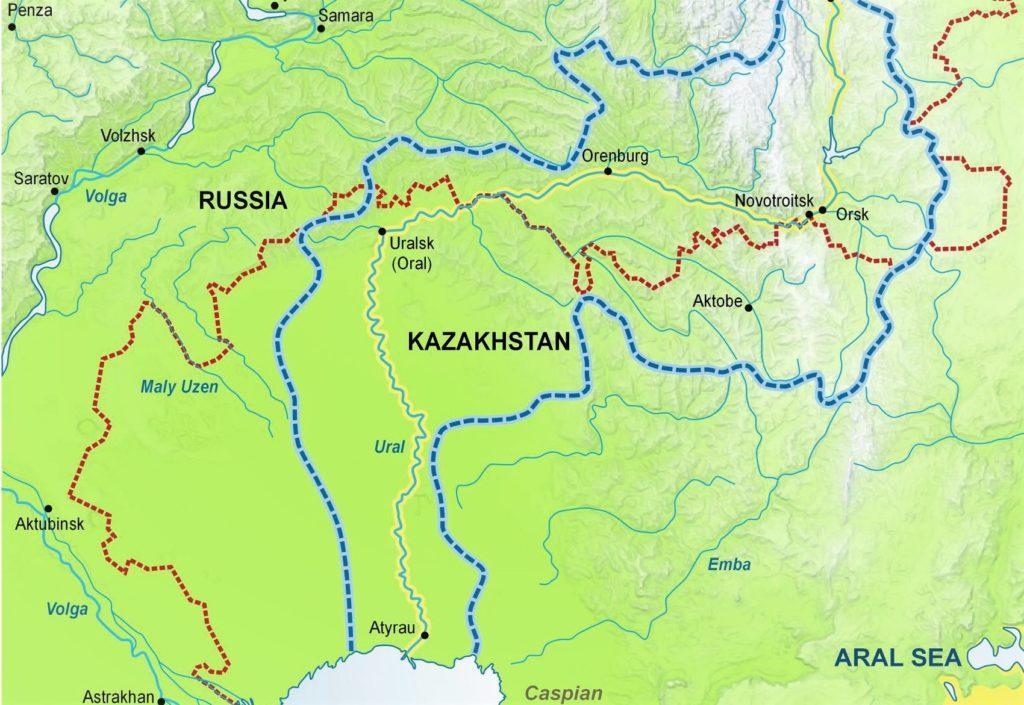 Река Урал на карте