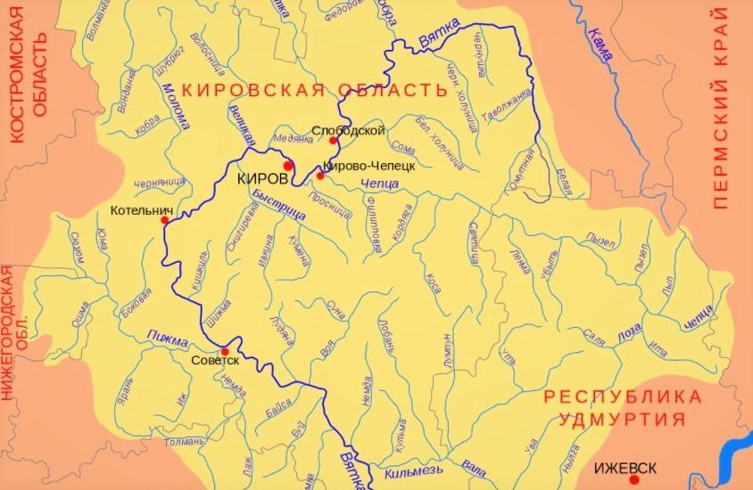 Река Вятка на карте