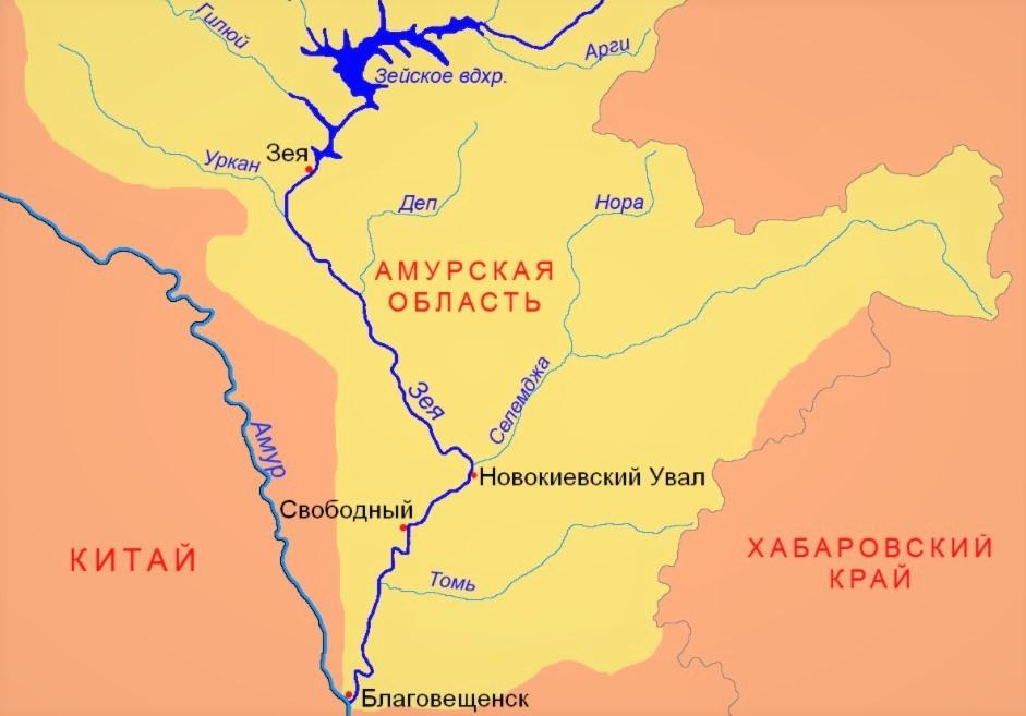 Река Зея на карте