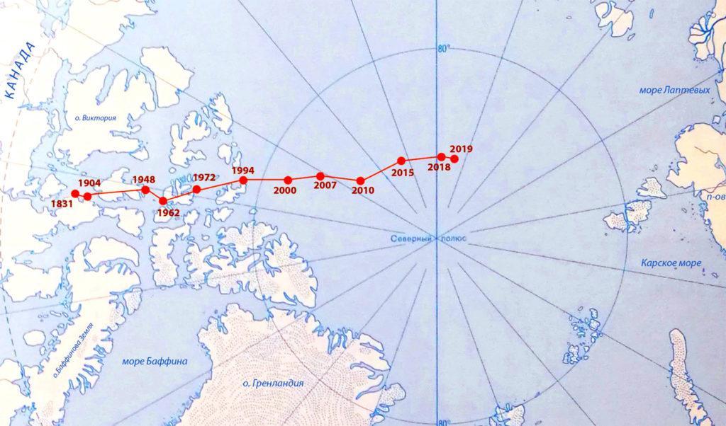 Смещение Северного магнитного полюса