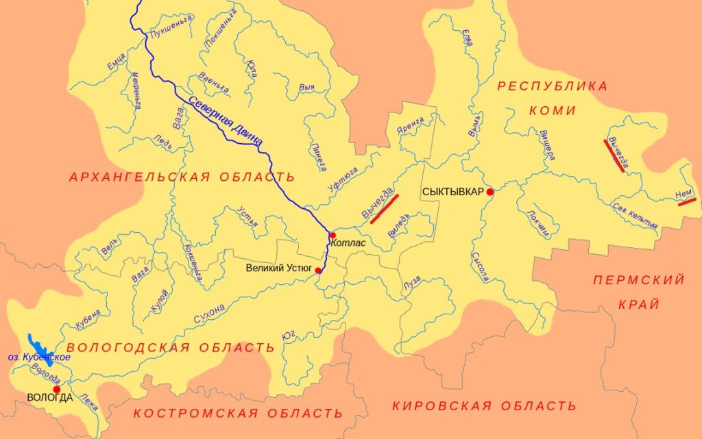 Река Северная Двина на карте