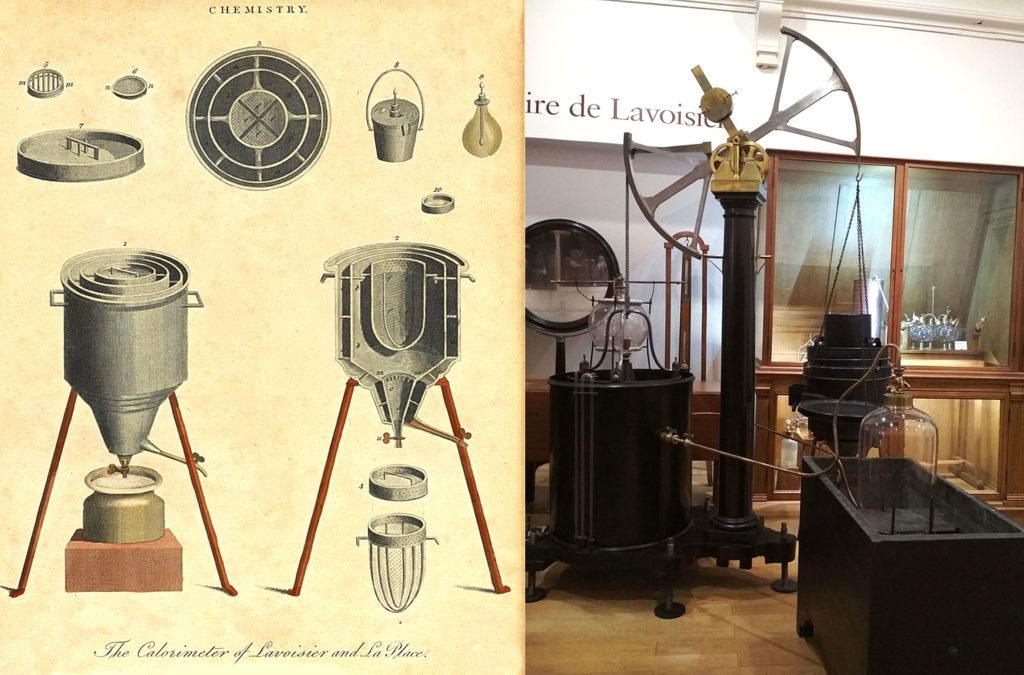 Ледяной калориметр Лавуазье-Лапласа. Рисунок 1801 г. и музейный экспонат