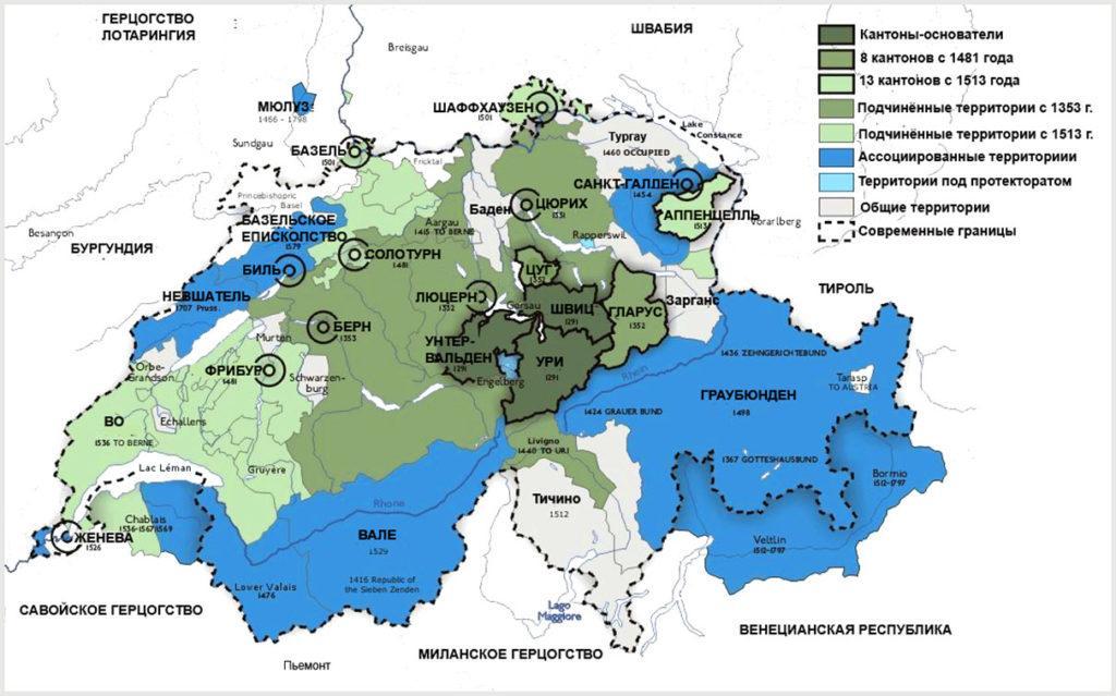 Карта Швейцарии, XVI век