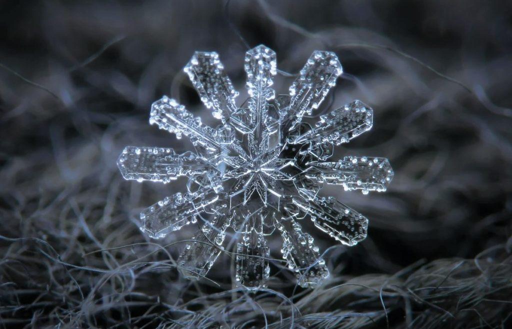 Фото снежинки под микроскопом