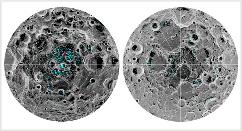 Вода на поверхности Луны в районе полюсов