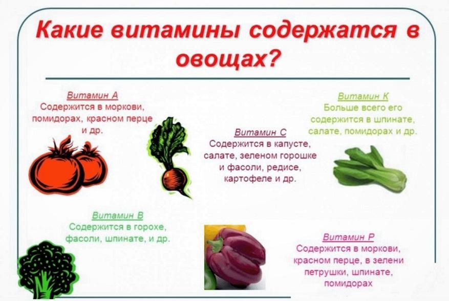 Витамины, содержащиеся в овощах