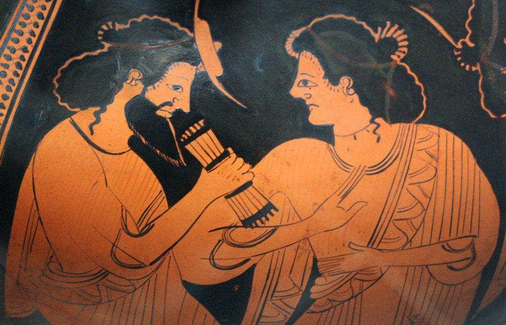 Изображение богини Майи на греческой амфоре (около 500 г. до н. э.)