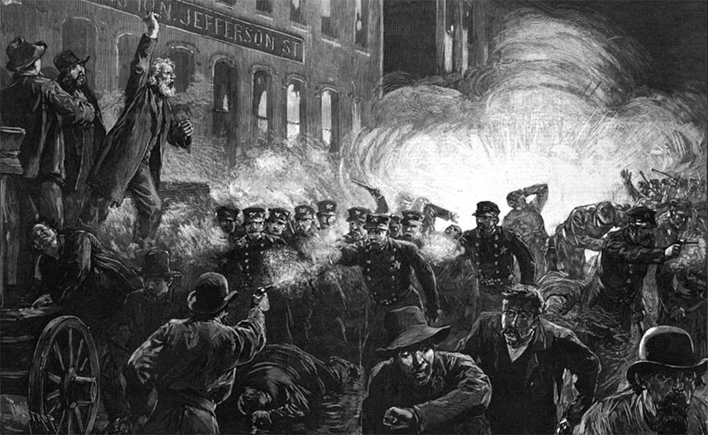 Демонстрация на площади Хеймаркет, гравюра 1886 года