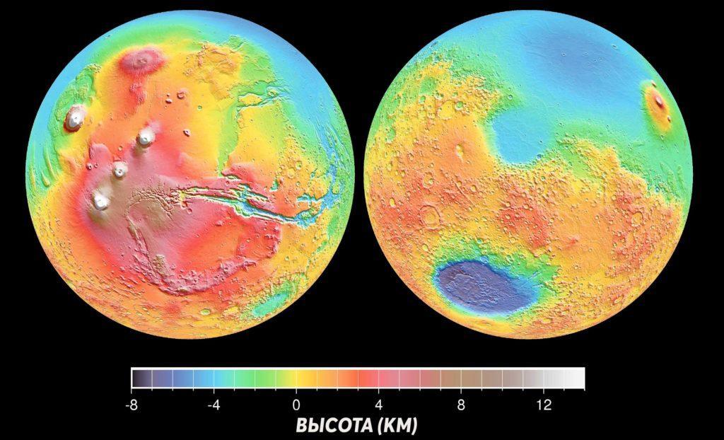 Карта рельефа Марса