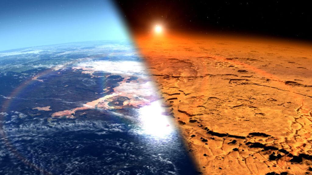 Ранний и нынешний Марс, иллюстрация