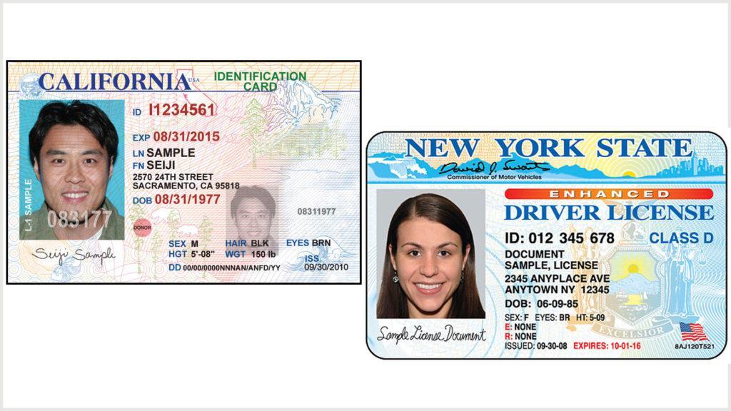 ID-карта слева и водительские права справа