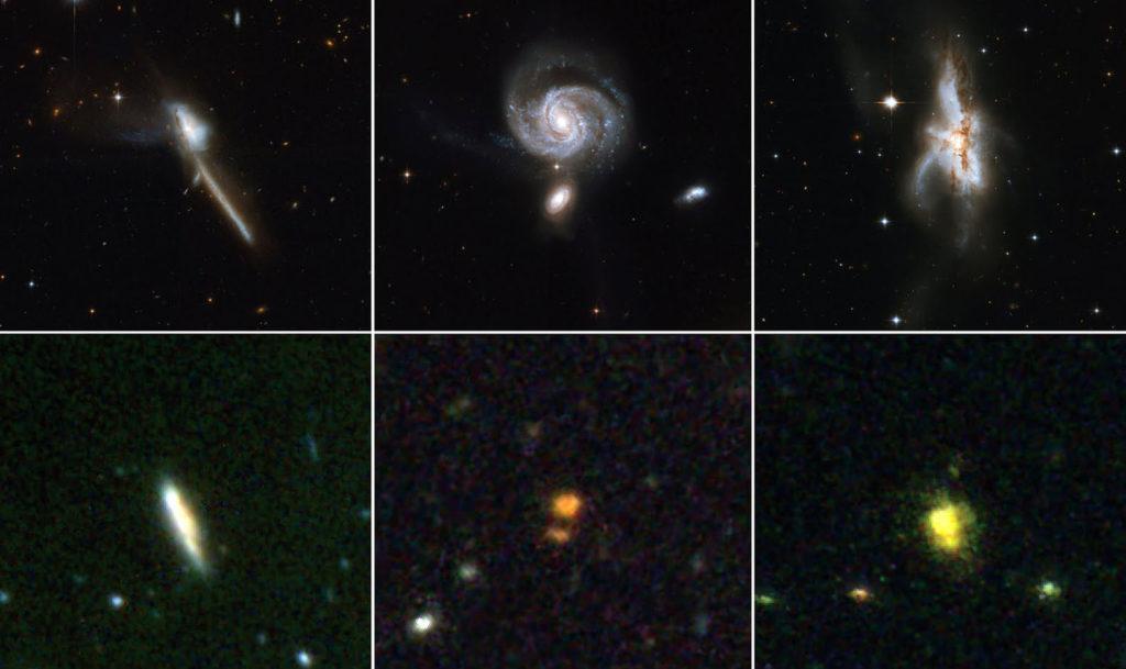 """Изображения квазаров, полученные космическим телескопом """"Хаббл"""""""