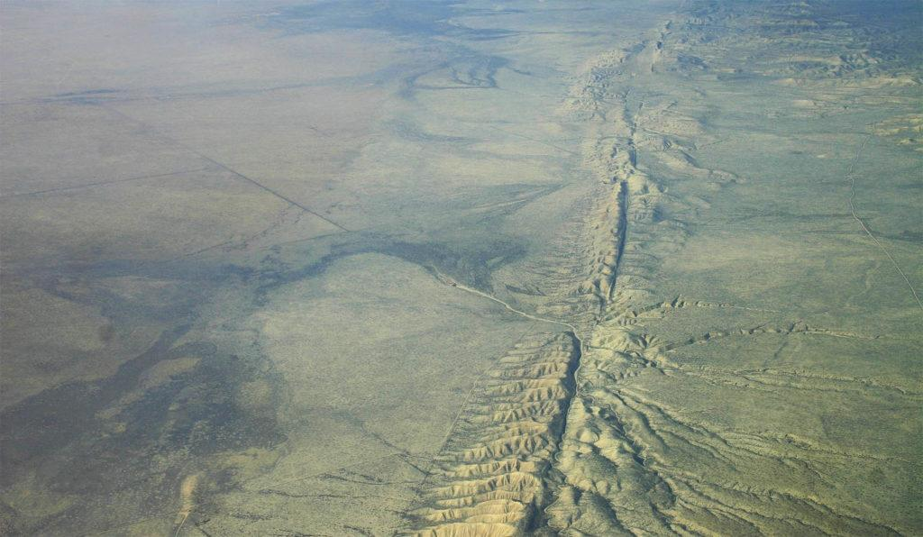 Аэроснимок разлома Сан-Андреас, равнина Карризо
