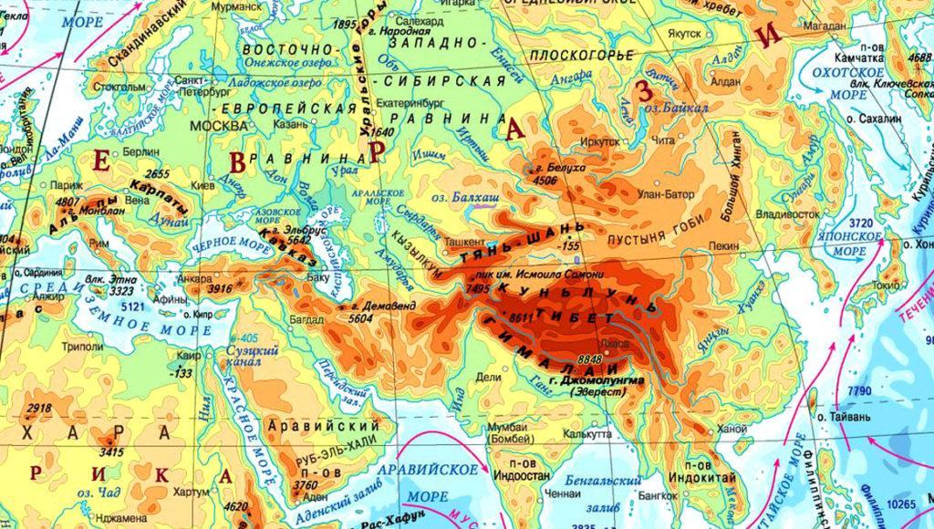 Тибетское нагорье на карте Евразии