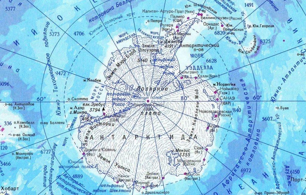 Антарктика на карте