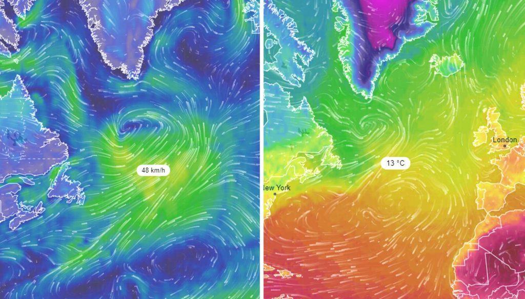 Ветры и температура в области АМОС