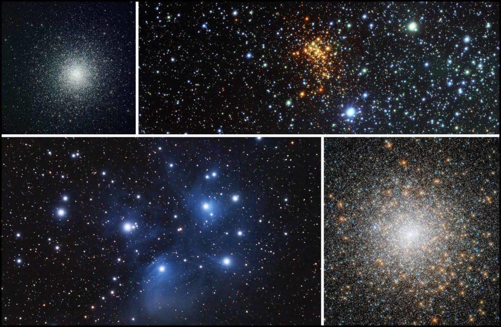 Снимки шаровых и рассеянных звездных скоплений