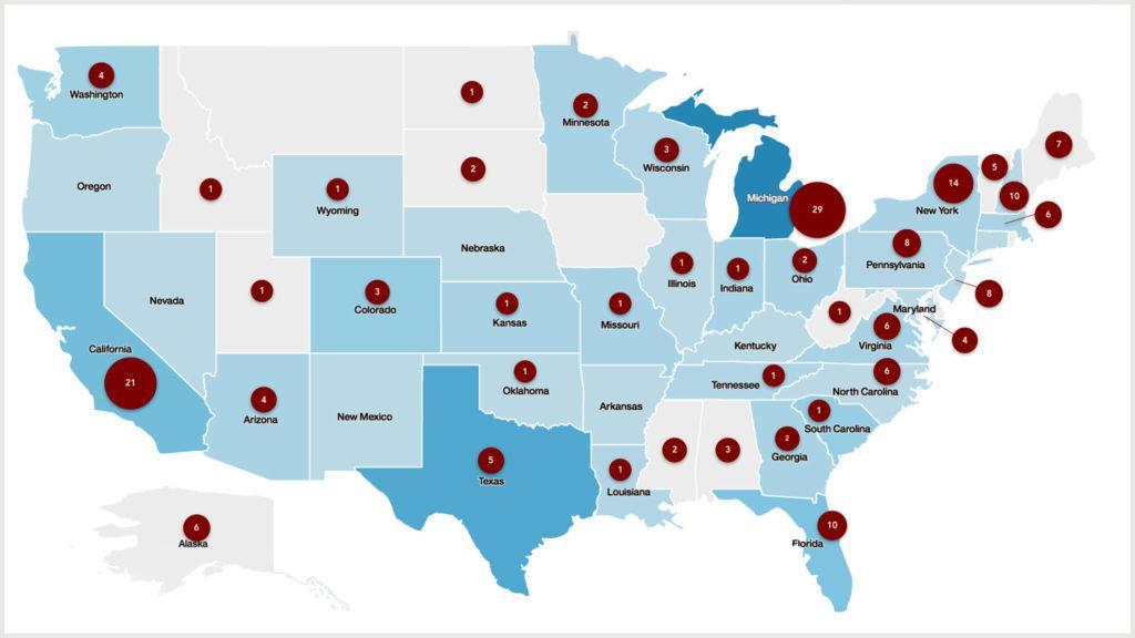 Количество мест в США с высоким уровнем загрязнения PFAS