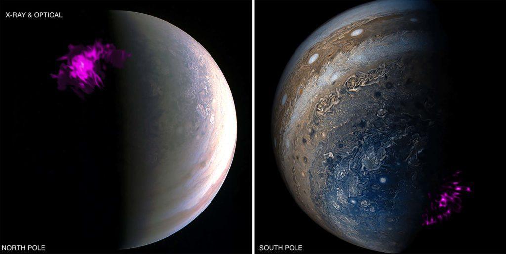Наложенные изображения полюса Юпитера со спутника НАСА Juno и рентгеновского телескопа