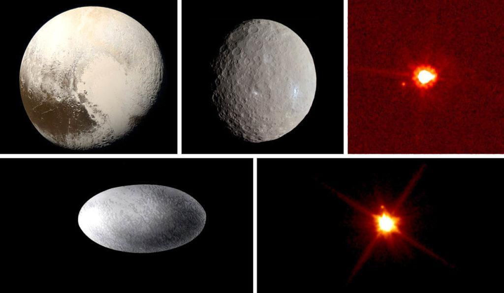 Признанные карликовые планеты: Плутон, Церера, Эрида, Хаумеа и Макемаке