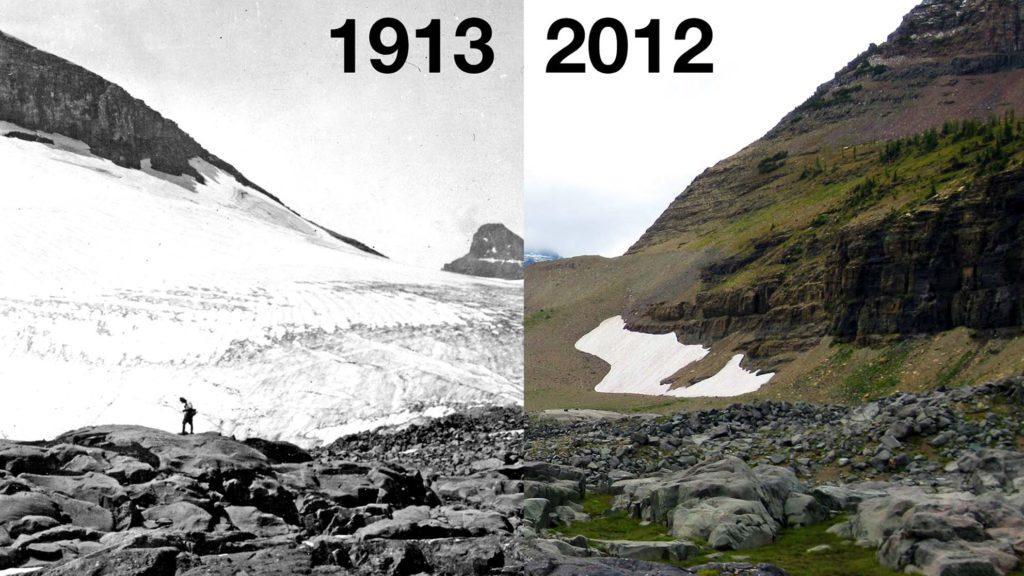Таяние ледника в Гренландии: сравнение фото 1913 и 2012 гг.