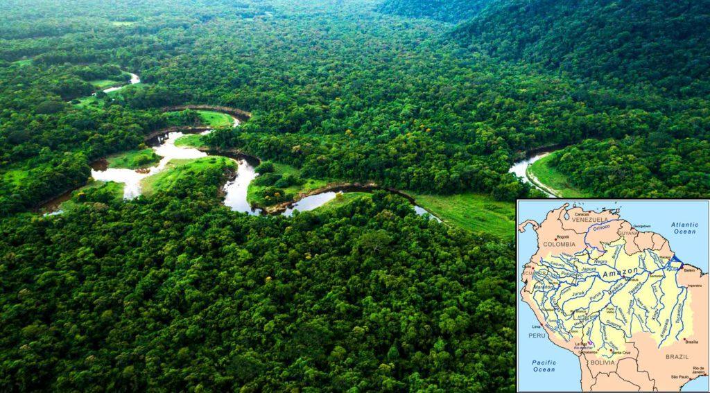 Дождевые леса Амазонии. Карта бассейна Амазонки
