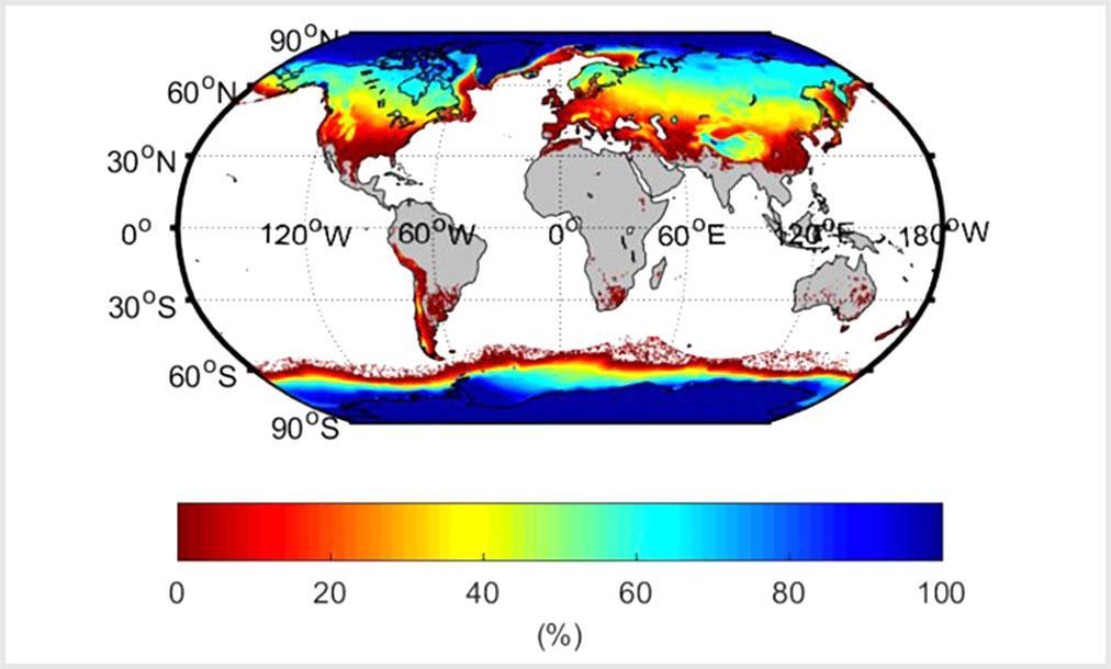 Процент каждой области, на которой в какой-то момент в течение года (1981–2010 гг.) был лед, снег или мерзлый грунт
