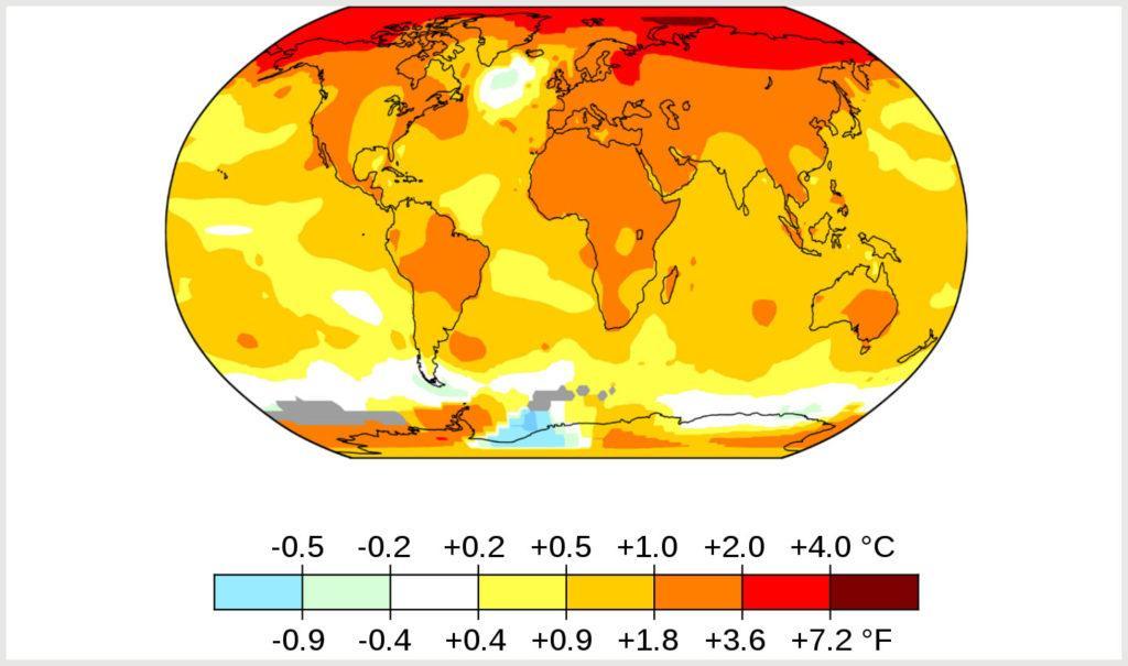Средние глобальные температуры с 2011 по 2020 год по сравнению с базовым средним показателем с 1951 по 1980 год